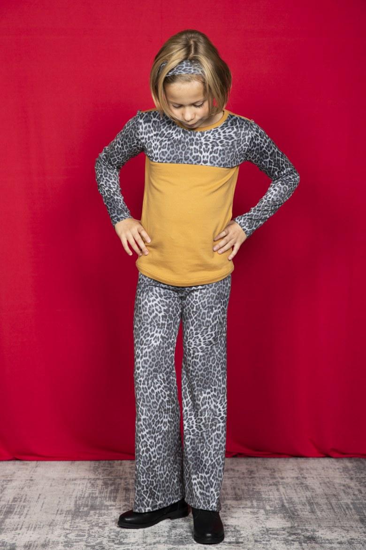 Flared Legging luipaard grijs   1