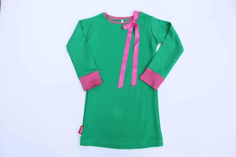 Jurkje uni groen met roze strik   1