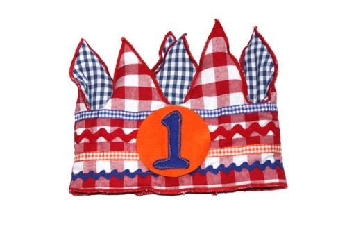 Verjaardagskroon rood/blauw/oranje   1