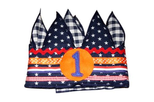 Verjaardagskroon donker blauw/oranje   1