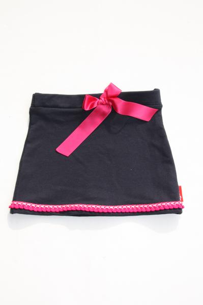 Rokje donkerblauw met roze strik