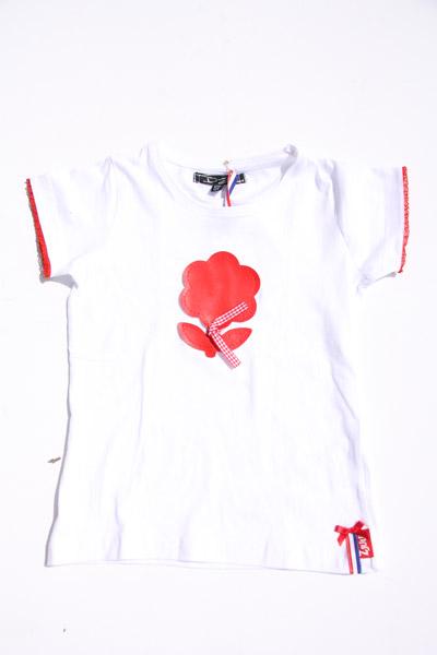 Shirt wit met rode bloem