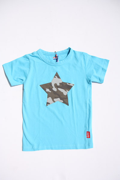 Shirt aqua blauw met legerster