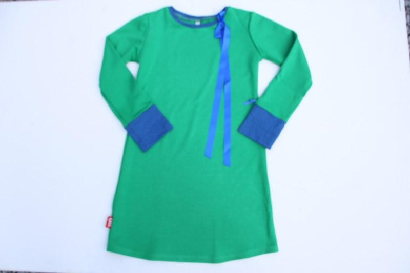Jurkje uni groen met blauwe strik