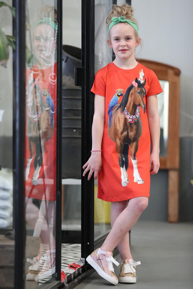 Rood jurkje paard met hawaislinger